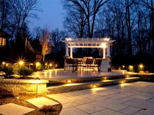 Image of outside landscape lighting at night for your home.